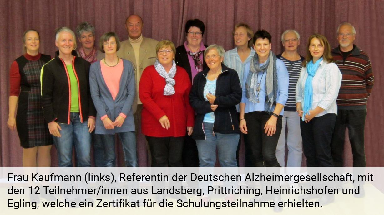 Helferkreisschulung der Deutschen Alzheimer Gesellschaft Landesverband Bayern e.V.